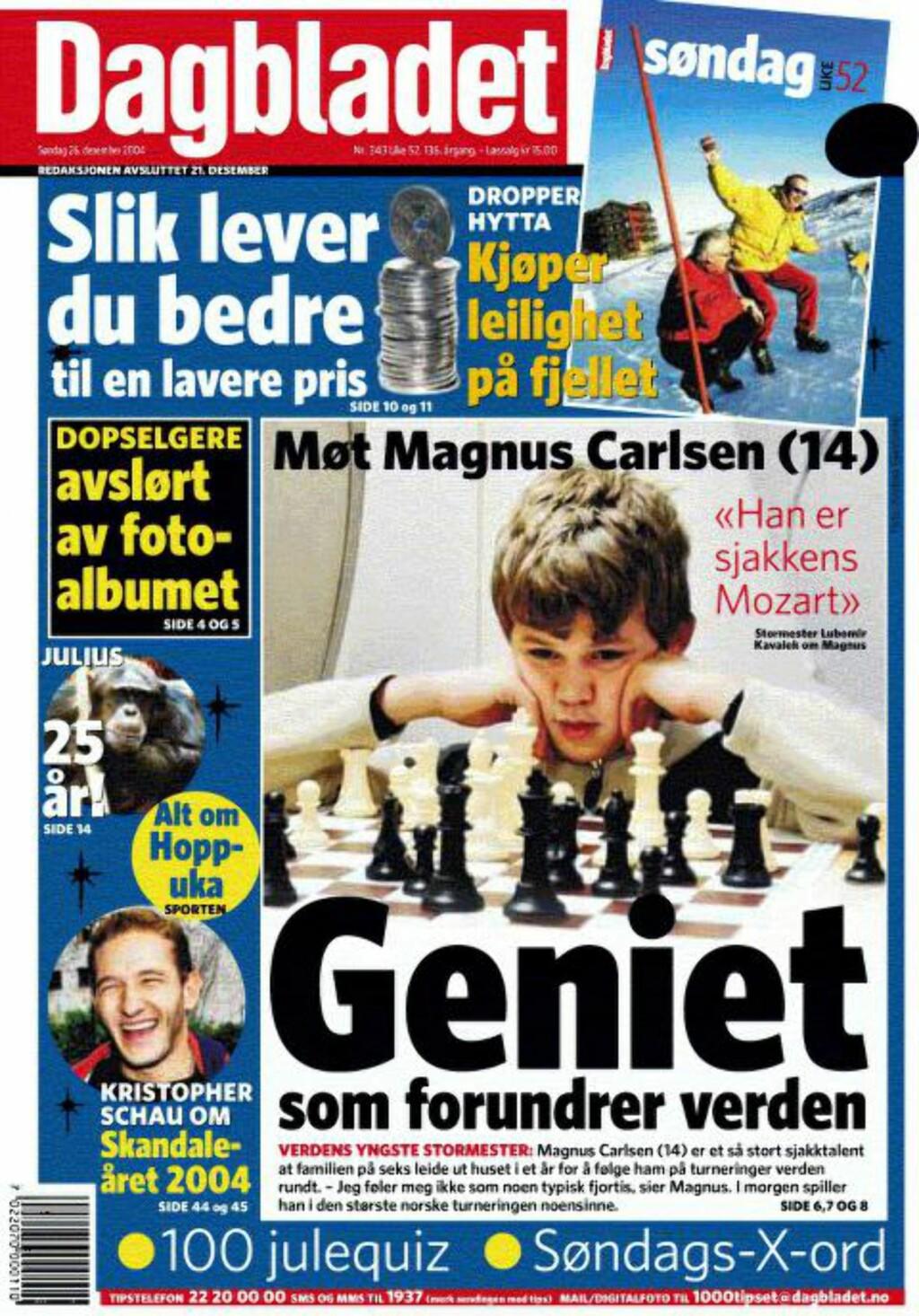 """TI ÅR: Det er snart ti år siden Magnus Carlsen prydet Dagbladets forside som """"Geniet som forundrer verden"""". Faksimile: Dagbladet"""