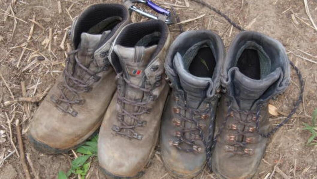 <strong>SURE SOKKER:</strong> Sånn skal godt brukte sko se ut etter fem dager i fjellet. Foto: TORILD MOLAND
