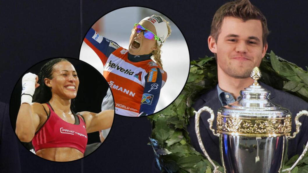 <strong>JEVNT:</strong> Fjorårsvinner Magnus Carlsen kjemper i toppen om å vinne Folkets Idrettspris. Det gjør også Cecilia Brækhus og Therese Johaug. Foto: NTB Scanpix