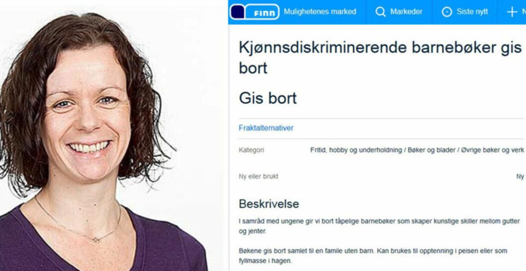 LA UT ANNONSE:  Tobarnsmor Kristin Buvik ble provosert av de kjønnsspesifikke barnebøkene barna fikk til jul, og la derfor ut denne annonsen på Finn.no. Foto: Privat/ Skjermdump Finn.no