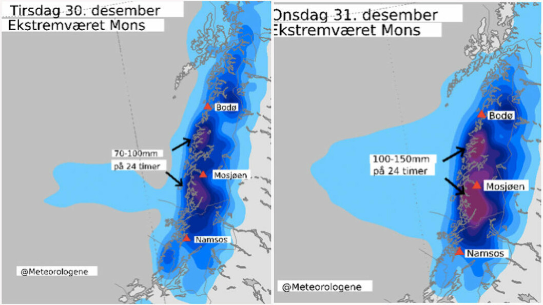 HERJER: Meteorologene sendte ut ekstremværvarsel for Namdalen, Helgeland, Saltfjellet og Sør-Salten mandag formiddag. Slik ser det ut tirsdag morgen. Skjermdump: Meteorologisk institutt