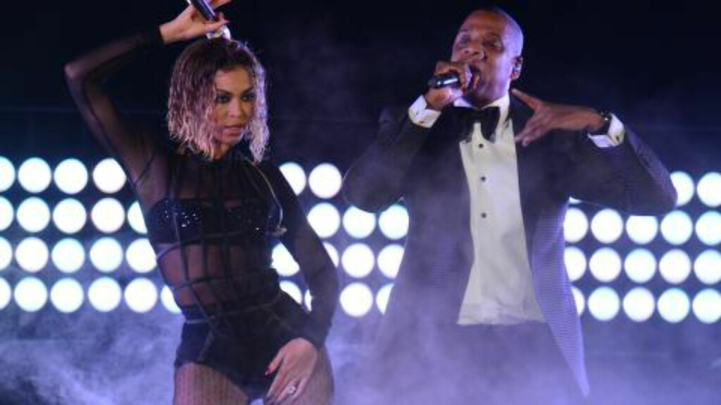 -- AFP PICTURES OF THE YEAR 2014 -- Beyonce Knowles and Jay-Z perform on stage for the 56th Grammy Awards at the Staples Center in Los Angeles, California, January 26, 2014. AFP PHOTO FREDERIC J. BROWN