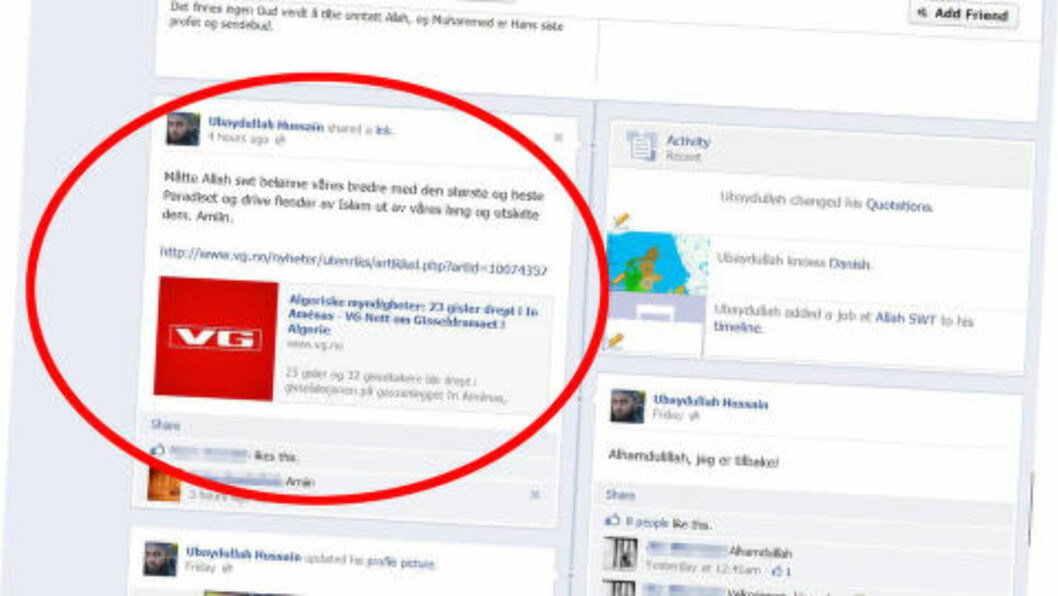 <strong>HYLLEST:</strong> Denne meldingen la Hussain ut etter terrorangrepet i Algerie.