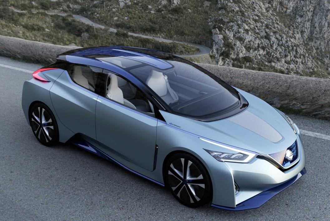 <b>NESTE GENERASJON LEAF?</b> Vel, akkurat som dette blir den nok ikke, men vi tror Nissan hinter om en god del elementer som vil gå igjen på neste generasjon Leaf med denne el-konseptbilen ved navn Nissan IDS Concept, som ble vist i Genève tidligere i år. Foto: NISSAN