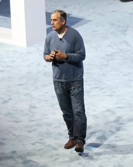 <strong><B>INTEL-SJEFEN SJØL</B>:</strong> Brian Krzanich forteller om Intel 360 Replay under Lenovo TechWorld 9. juni i år. Foto: BJØRN EIRIK LOFTÅS