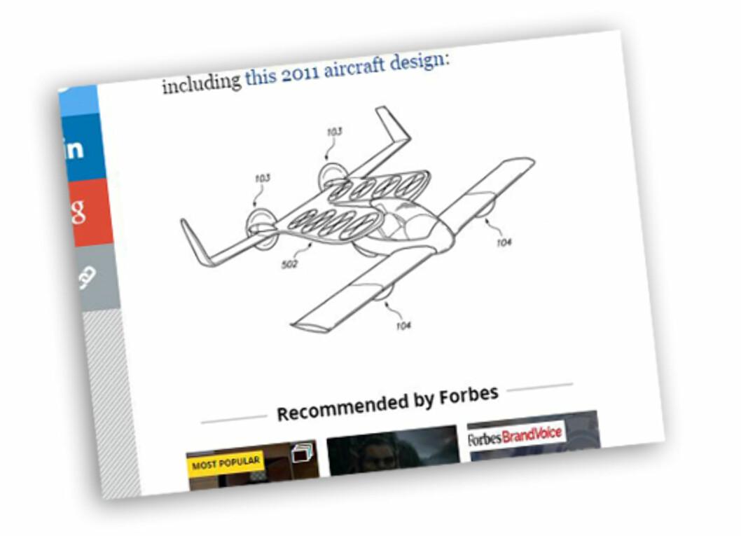 <strong><b>PATENT:</strong></b> Page ønsker med flere sett propeller å kunne lande og lette vertikalt med det som i første omgang ser ut som et fly.  Foto: Skjermdump forbes.com