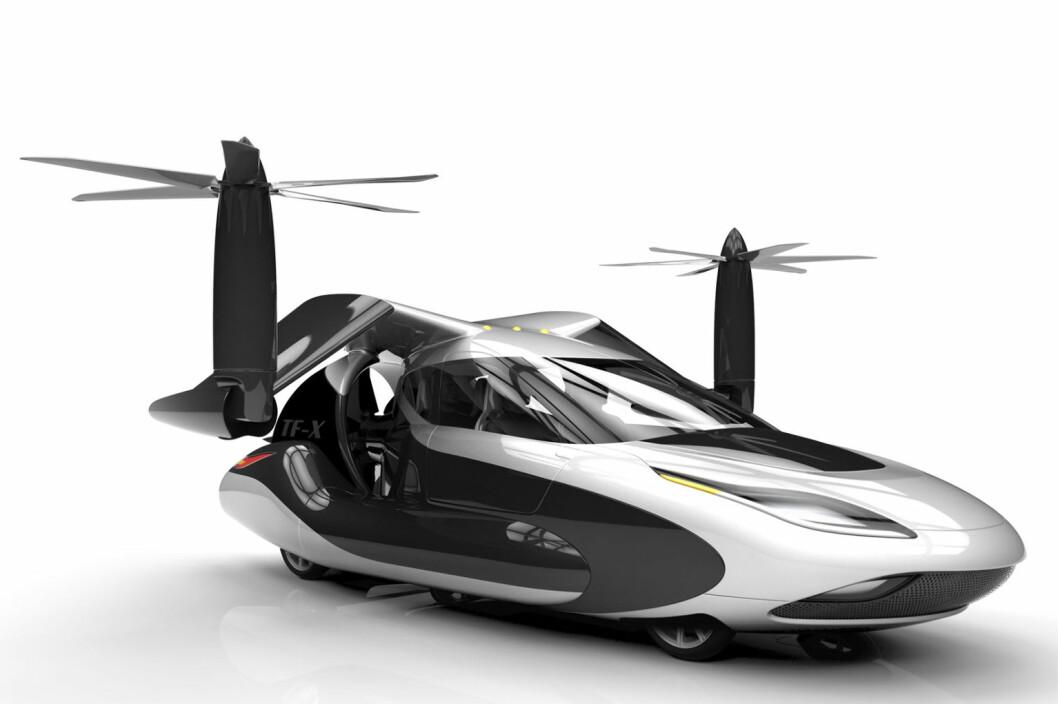 <b>FREMTIDEN</b> Det er tegnet og gjort forsøk på flyvende biler i lang tid. På bildet er en TF-X, med utfoldbare vinger som forventes å være klar for et potensielt marked i 2023. Terrafugia, som er leverandør av bil-flyet, tar allerede imot reservasjoner.  Foto: Splash News