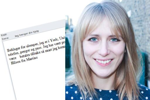 LURERI: Martine opplevde å få g-mailkontoen misbrukt etter å ha klikket på en lenke i en e-post Foto: PRIVAT