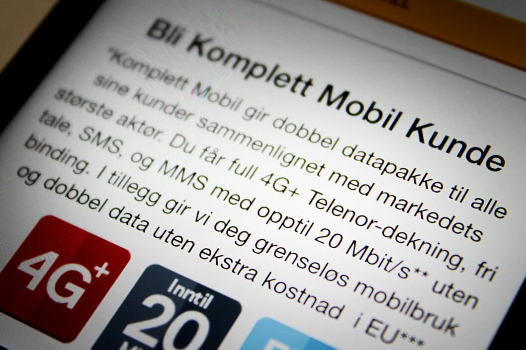 <strong><b>LAGT TIL:</strong> </B>Komplett Mobil har nå lagt inn en tekst om at de gir «dobbel datapakke til alle sine kunder sammenlignet med markedets største aktør». Les: Telenor. Foto: OLE PETTER BAUGERØD STOKKE