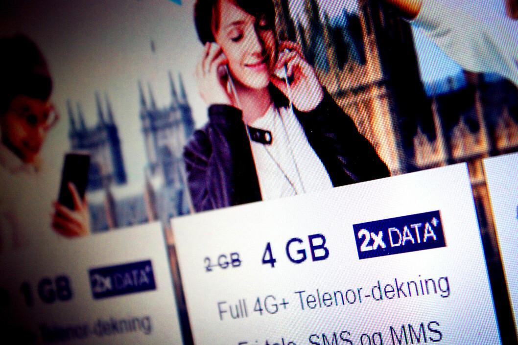 <strong><B>«DOBBEL DATA»:</strong> </B>Komplett Mobil reklamerer med at du får dobbel data, og sa først ingenting om hvorfor deres data var noe mer dobbel enn alle andres datakvoter. Foto: OLE PETTER BAUGERØD STOKKE