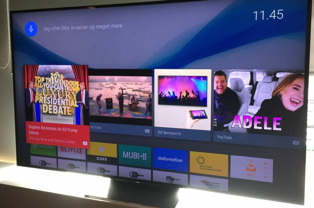 <strong><B>SMARTERE</B>:</strong> Samtlige store TV-produsenter har gjort betydelige forbedringer i smartTV-funksjonaliteten på årets modeller. Men bruker du andre måter å hente innhold fra nett til TV-en, er det mindre viktig. Her: Sony. Foto: BJØRN EIRIK LOFTÅS