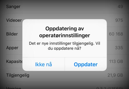 <b>TELENOR 24.1:</b> Oppdaterer du operatørinnstillingene på din iPhone til <i>Telenor 2.41</i>, får du 4G-tale. Foto: KIRSTI ØSTVANG