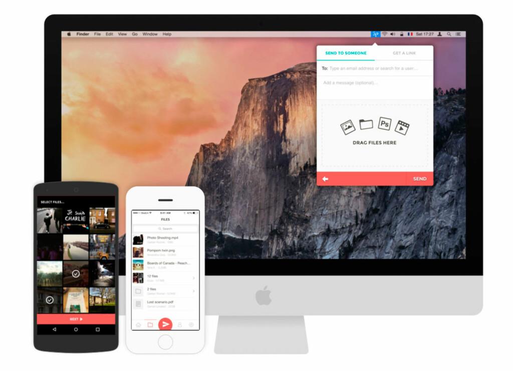 SEND FILER: Infinit har en smart tjeneste for å sende filer mellom mobiltelefoner, nettbrett og PC-er. Foto: INFINIT
