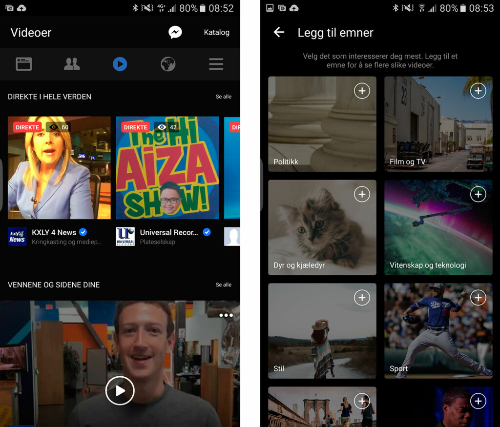 EGEN SIDE: Den nye videosiden på Facebook lar deg se aktuelle direktesendinger og tilpasse innholdet basert på interesser.