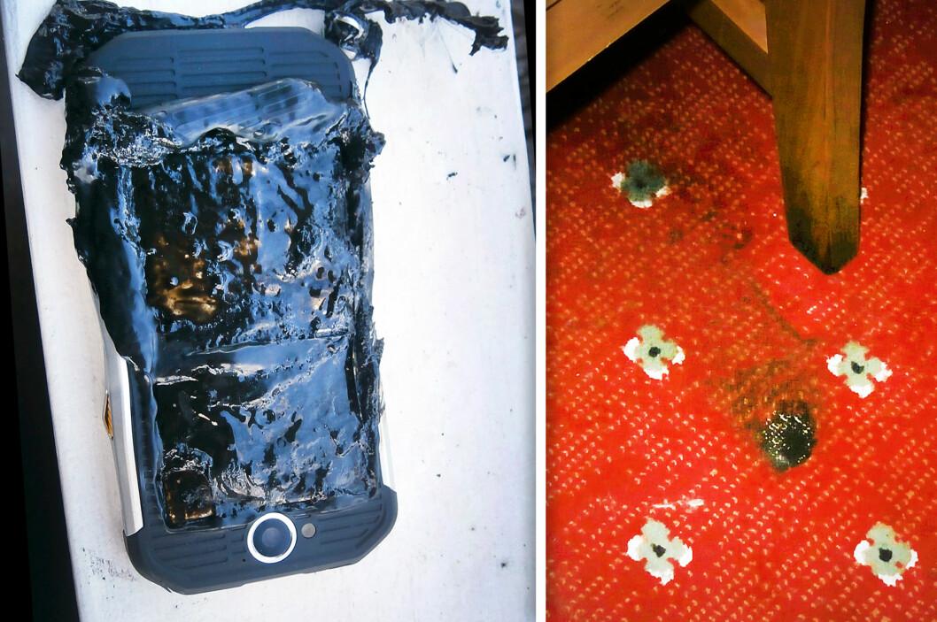 <strong><b>STORE SKADER:</strong> </b>Cat S40-mobilen ble totalskadet, og teppet fikk seg et kraftig svimerke. DSB advarer mot at slikt kan skje mens du sover, om du lader om natta. Foto: PRIVAT