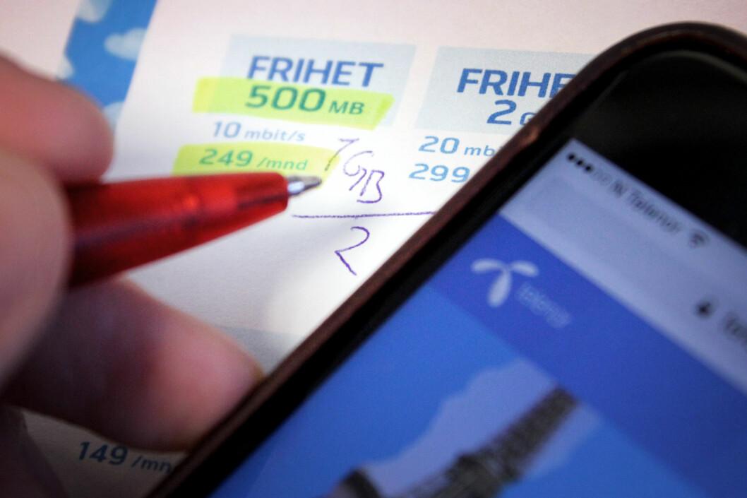 <strong><B>HALVERING:</strong> </b>En halvering av datakvota på Telenors billigste abonnement betyr også en dobling av gigabyteprisen. Det er prisen å betale om du ønsker fri roaming i Europa. Foto: OLE PETTER BAUGERØD STOKKE