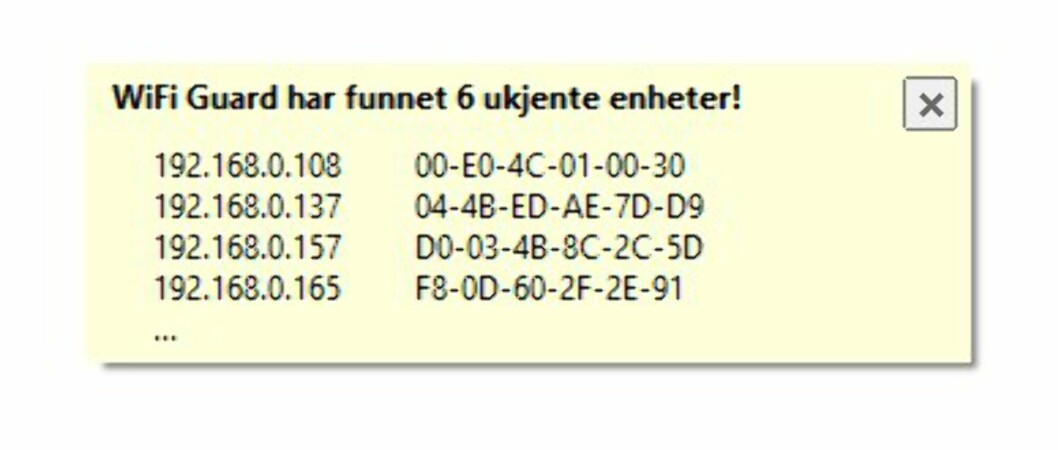 <strong><B>LEGGER SEG ØVERST</b>:</strong> Hvis WiFi Guard finner ukjente enheter, legger denne meldingen seg over alle andre programvinduer, slik at du ikke unngår å se den.