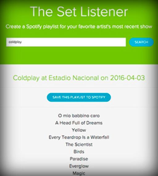 HVA SPILTE DE? The set listener gir deg setlister fra konserter favorittgruppa di har hatt nylig.