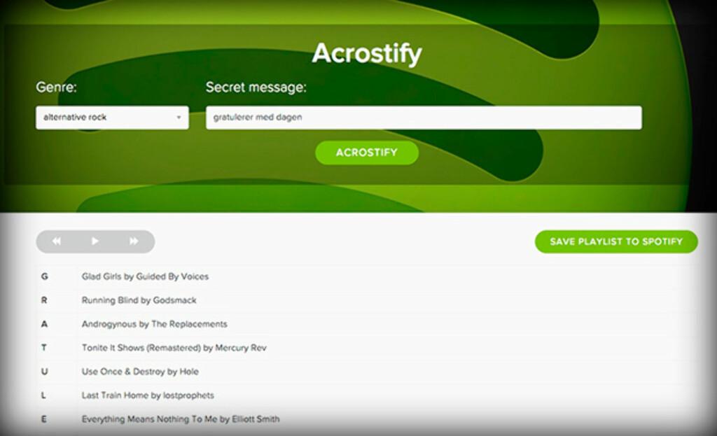 SKJULT BUDSKAP: Acrostify plukker sanger slik at første bokstav i hver sang kan settes sammen til en melding.