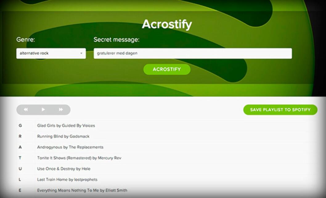 <strong><strong>SKJULT BUDSKAP:</strong></strong> Acrostify plukker sanger slik at første bokstav i hver sang kan settes sammen til en melding.