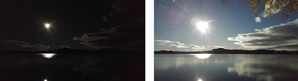 DAG ELLER NATT? Natt! Bildet til høyre er tatt samtidig, men med lenger lukkertid. Foto: PÅL JOAKIM OLSEN