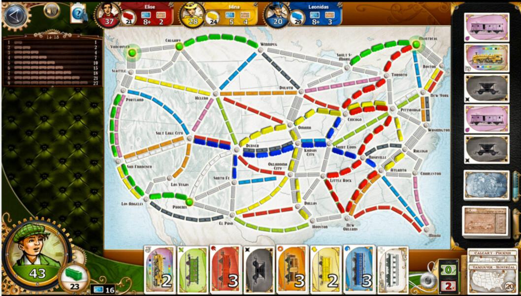 <strong><strong>CHUGGA-CHUGGA:</strong></strong> I Ticket to ride skal man bygge jernbanestrekninger på en smart måte for å vinne spillet.
