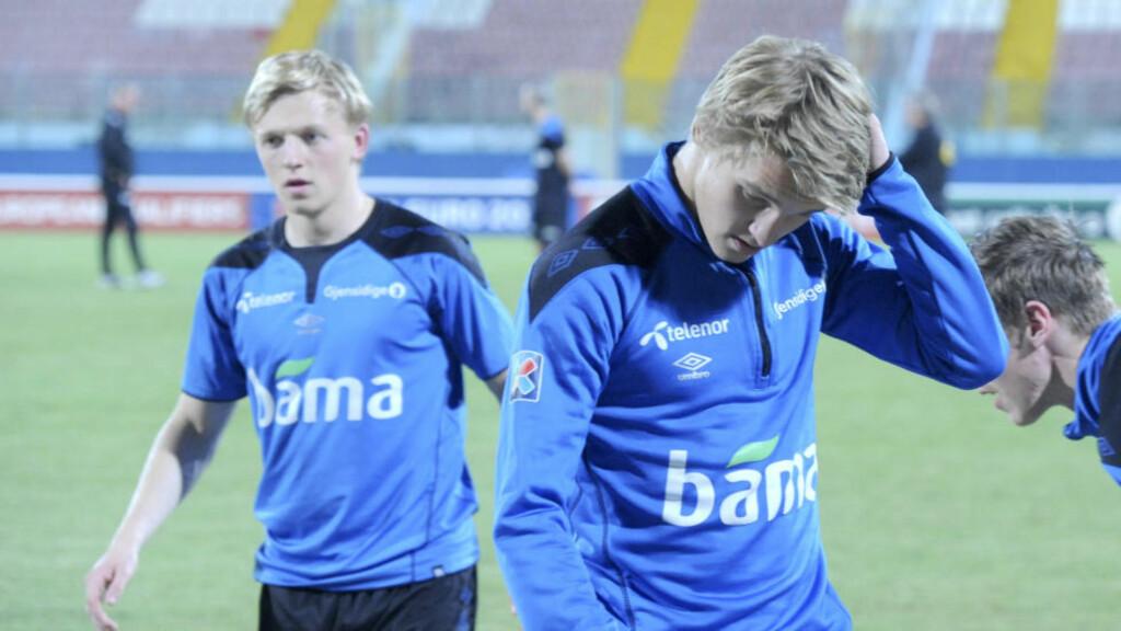 FIKK IKKE SPILLE: Martin Ødegaard ble sittende på benken i samtlige 90 minutter mot Malta i går. Det skapte reaksjoner hos mange. Foto: Terje Pedersen / NTB scanpix