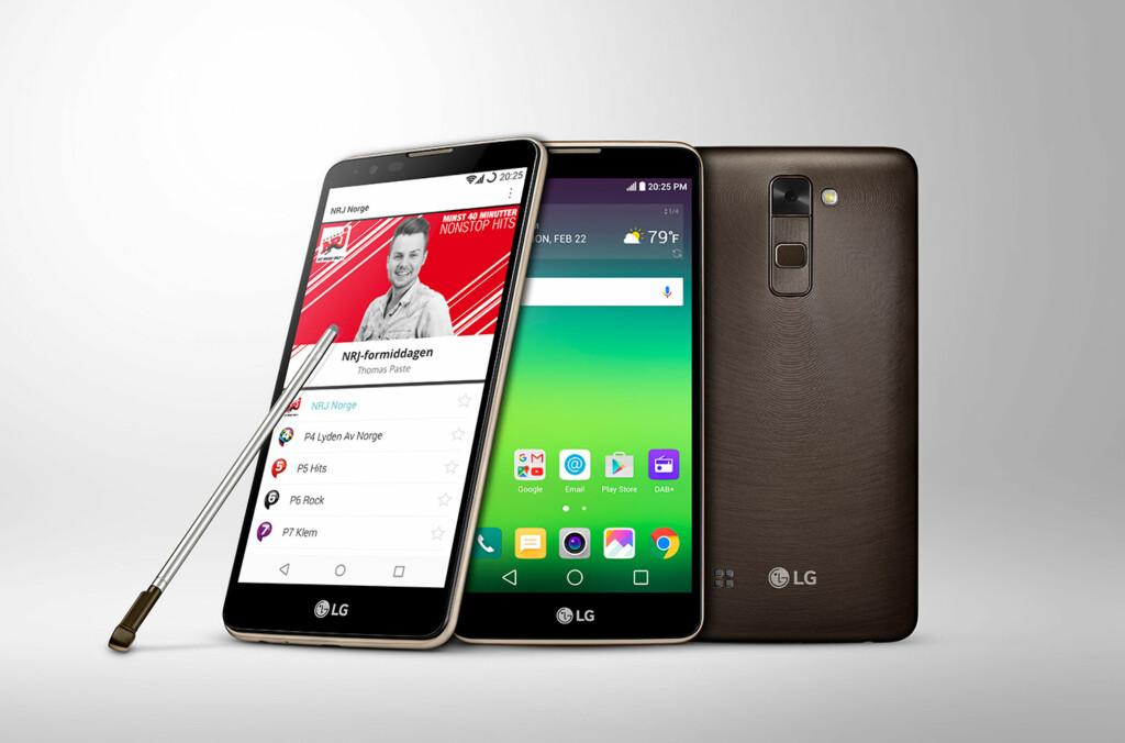<strong>HØR, HØR:</strong> LGs nye mobiltelefon, Stylus 2, kan ta inn DAB-sendinger slik at du kan høre på radio uten å bruke datatrafikk. Foto: LG