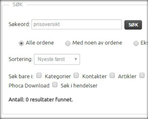 BØR GI TREFF: Forbrukerrådet mener søk som «prisoversikt» bør gi treff på kommunenes nettsider.