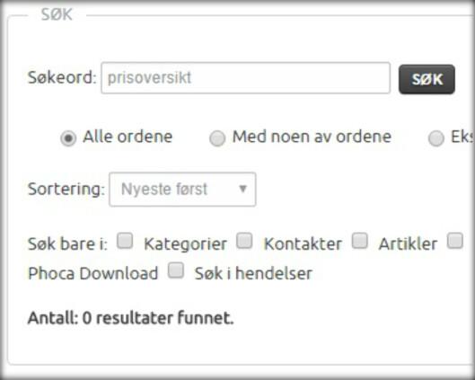 <strong><b>BØR GI TREFF:</strong></b> Forbrukerrådet mener søk som «prisoversikt» bør gi treff på kommunenes nettsider.