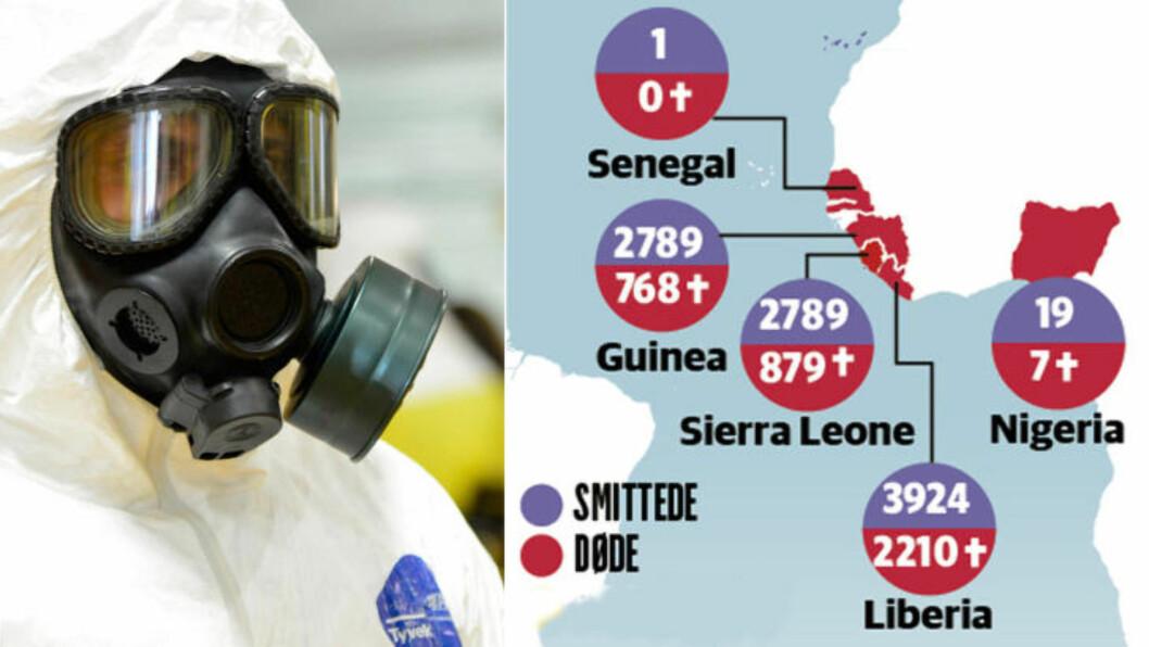 <strong>TIDENES STØRSTE UTBRUDD:</strong>  Aldri før har et ebola-utbrudd spredt seg inn i urbane områder og over landegrenser. Det gjør det til tidenes største og verste utbrudd.  Bildet til høyre viser en amerikansk soldat som gjør seg klar til tjeneste i Vest-Afrika. Foto: Harrison McClary / Reuters / NTB Scanpix. Grafikk: Kjell Erik Berg / Dagbladet