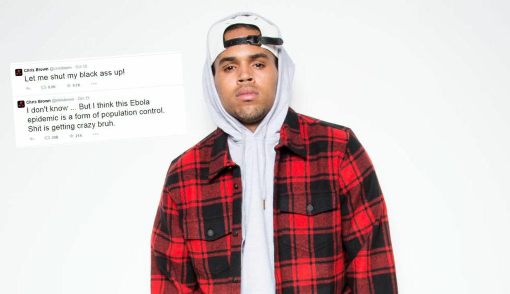 TWITTER-TRØBBEL: R&B-stjerna Chris Brown får både positive og negative tilbakemeldinger etter ebola-tweet. Foto: NTB Scanpix