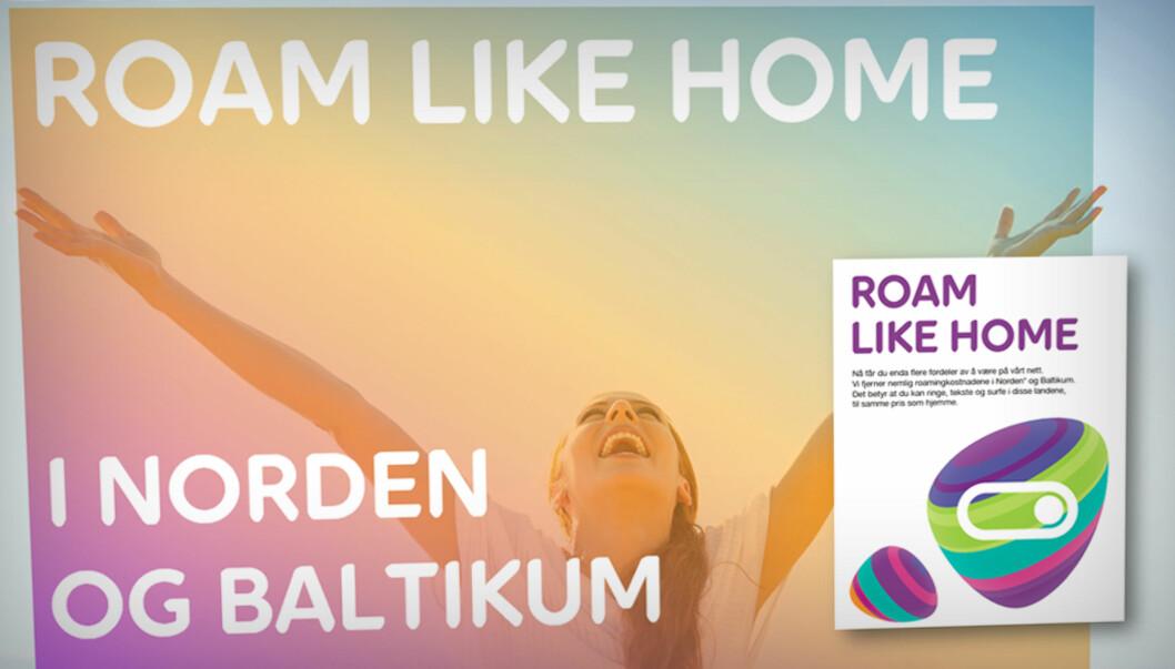 <strong><B>NYE TIDER:</strong> </b>Slik ser både Roam Like Home-reklamen og profilen til nye Netcom, nå Telia, ut.  Foto: TELIA