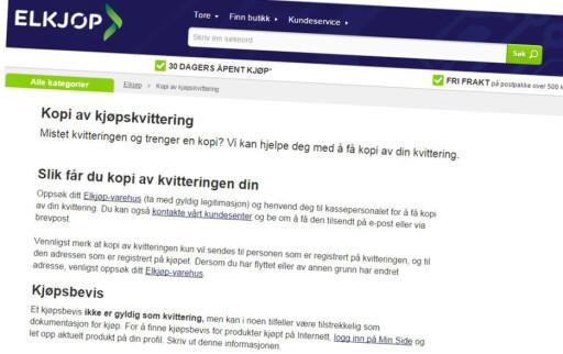 KVITTERING: Med Vipps-betaling finner du igjen kvittering og garanti på Elkjøps nettside.  Foto: TORE NESET