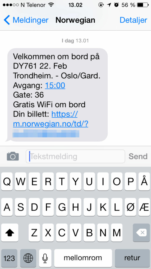 FEILSENDT: SMS-en bekrefter at billetten er bestilt. Problemet er bare at den kom til feil person.