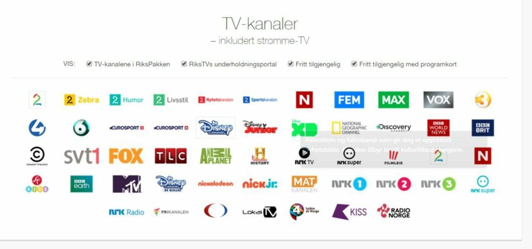 <strong><B>IKKE FRITT VALG:</strong></B> Du må fortsatt ta med kanaler du aldri ser på. Foto: RIKSTV