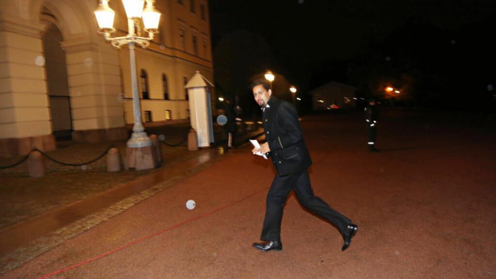 SEINT UTE:  Abid Raja var ordknapp da han ankom årets stortingsmiddag, og mest opptatt av å rekke Kongens middagsbord. Foto: Frank Karlsen / Dagbladet