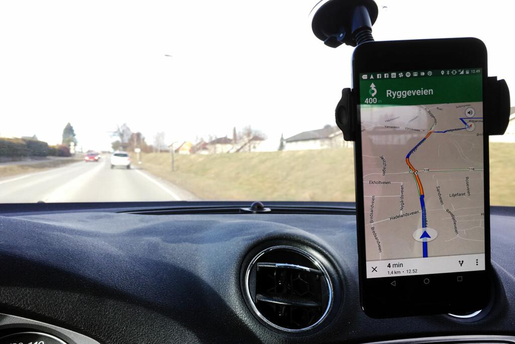 <strong>KØ?</strong> Google Maps gir deg sanntidsinformasjon om trafikkbildet. Foto: PÅL JOAKIM OLSEN