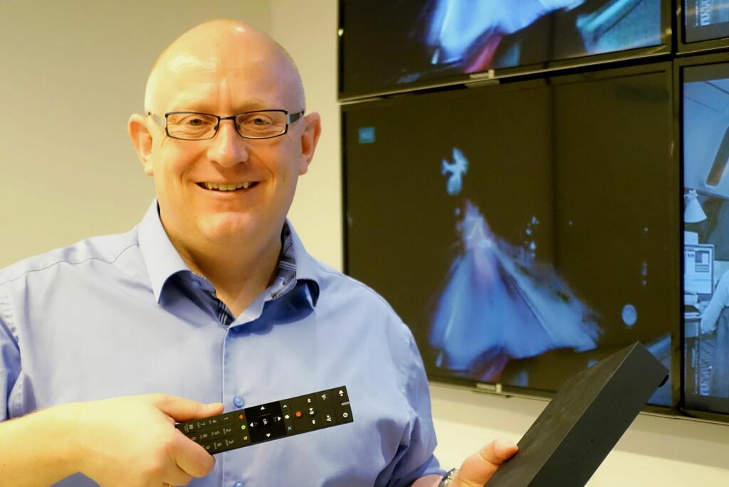 <B>ENORM PÅGANG:</B> Administrerende direktør Christian Birkeland i RiksTV er fornøyd med det uventede løftet. Foto: TORE NESET
