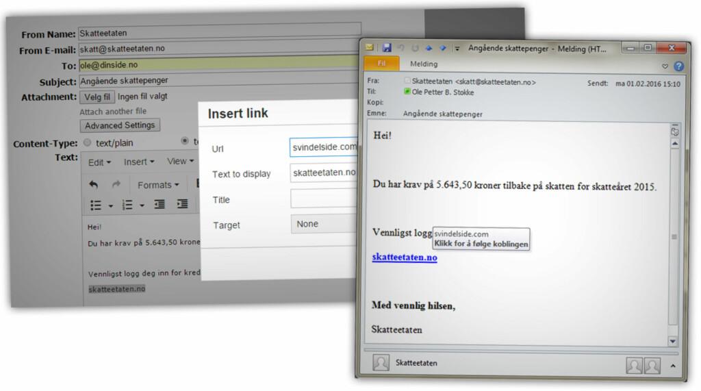 FALSK E-POST-ADRESSE: Tjenester som denne lar deg skrive inn hvor e-posten skal, og hvor det skal se ut som den kom fra. Ved hjelp av enkel HTML-koding kunne vi lage en falsk lenke «til skatteetaten.no» og raskt forfatte noe som likner klassisk phishing.  Foto: OLE PETTER BAUGERØD STOKKE