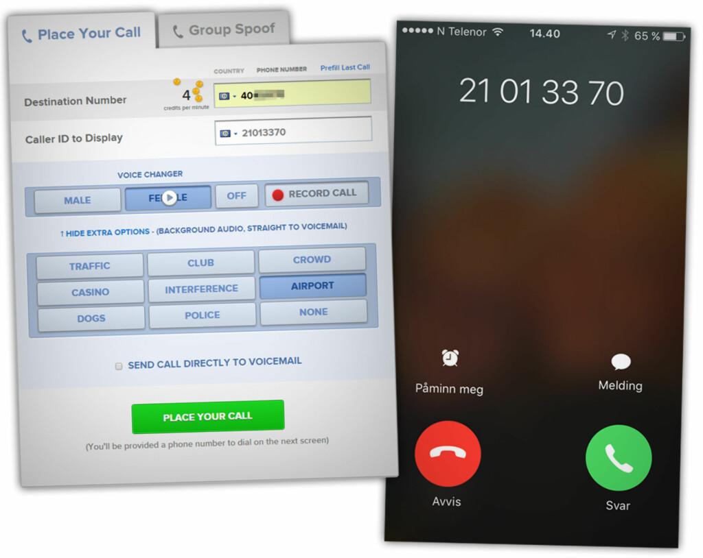RINGE FRA ANDRES NUMRE: Denne tjenesten lar deg ringe fra din egen mobil og velge hvilket nummer som skal dukke opp hos mottaker. Legg merke til at det fiktive nummeret 21013370 til venstre er det samme som dukker opp på mobilen vi ringer til. Foto: OLE PETTER BAUGERØD STOKKE