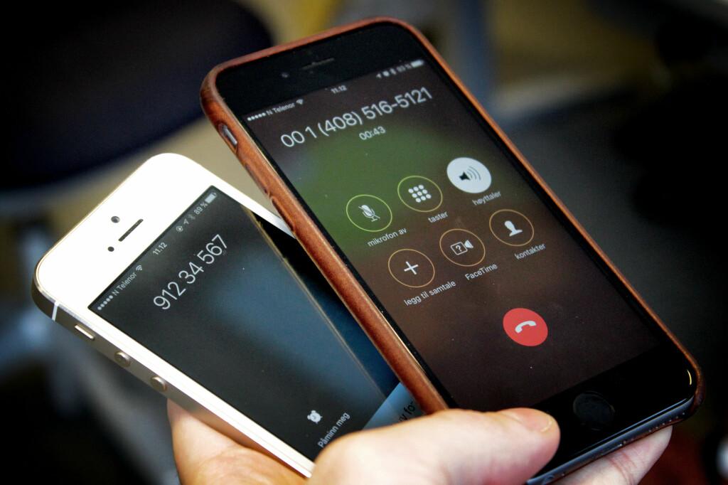 <B>SPOOFING: </b>Til høyre er mobilen vi ringer fra, til venstre mobilen vi ringer til. Nummeret 91234567 har vi selv valgt. Med andre ord får vi her forfalsket visningsnummeret på mobilen vi ringer til, som kalles «spoofing». Foto: OLE PETTER BAUGERØD STOKKE