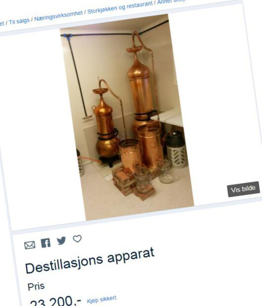 <strong><B>BARE TIL VANN:</strong></b> Dette destillasjonsapparatet selges på Finn.no til 23.200 kroner. Foto: FINN.NO/FAKSIMILE