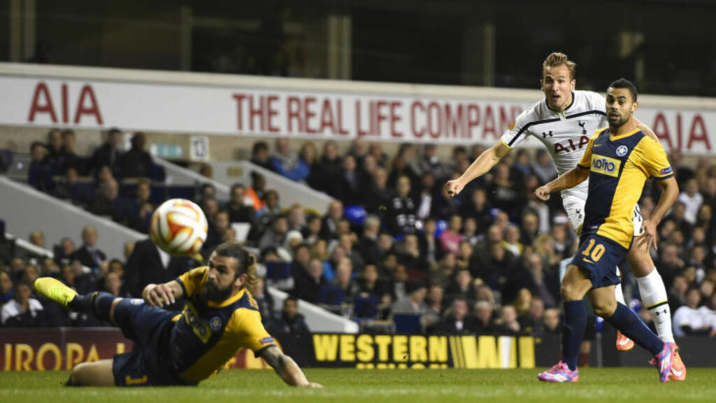KANON: Harry Kane gjorde som mot Besiktas i forrige Europa League-match: Dundret inn 1-0 fra langt hold.Foto: REUTERS / Dylan Martinez / NTB Scanpix