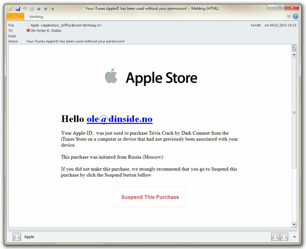 FALSKE SELSKAPER: Mange er kunde av Apple på en eller annen måte, og ved å sende ut e-poster fra dem vil svindlerne nå mange potensielle ofre. Gå rett til kilden om du er i tvil, og aldri følg lenkene. Foto: OLE PETTER BAUGERØD STOKKE
