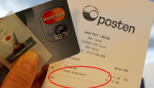 Det kan bli dyrt å bruke kredittkort på Posten