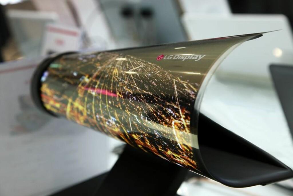 Denne 18-tommeren fra LG kan rulles sammen som en avis. Foto: LG