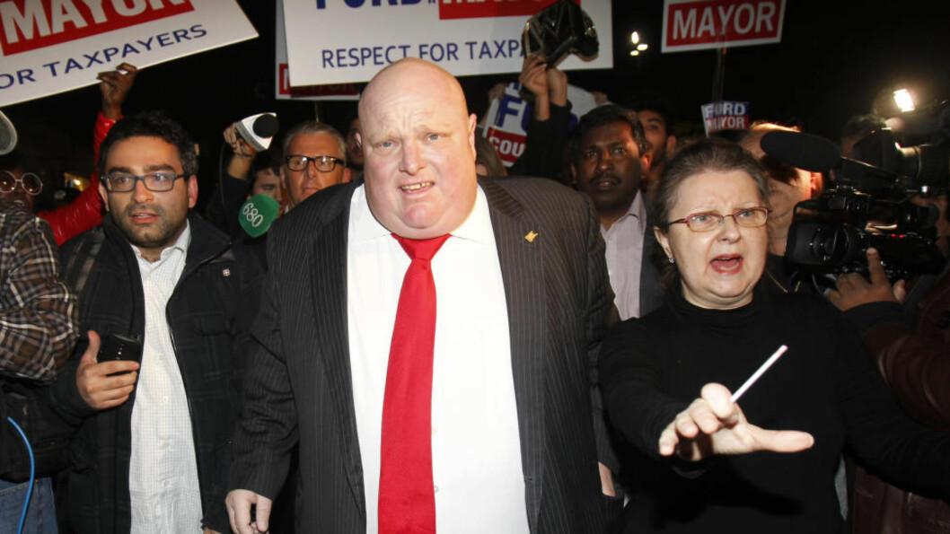 <strong>VANT:</strong> Den skandaliserte avtroppende ordføreren i Toronto, Rob Ford, vant en plass i bystyret. Foto: REUTERS/Fred Thornhill