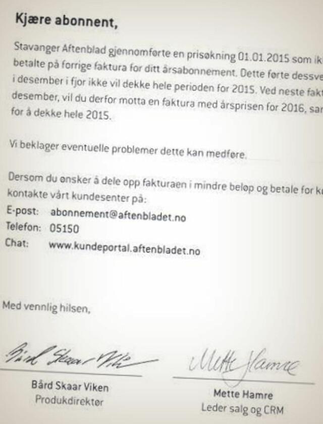 cd86833d BEKLAGER: Aftenbladet beklager i brevet, men skriver at de kommer til å  kreve den