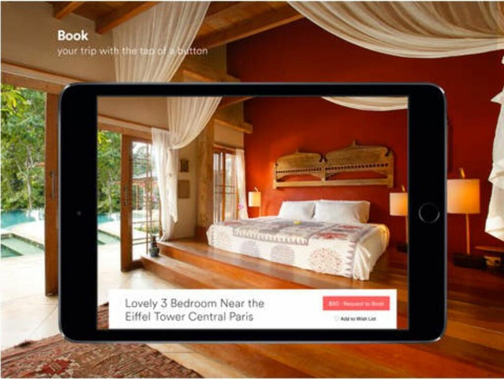 I STEDET FOR HOTELL: Airbnb lar deg leie vanlige folks hus og leiligheter –ofte til en hyggeligere pris enn et hotellrom. Foto: Apple
